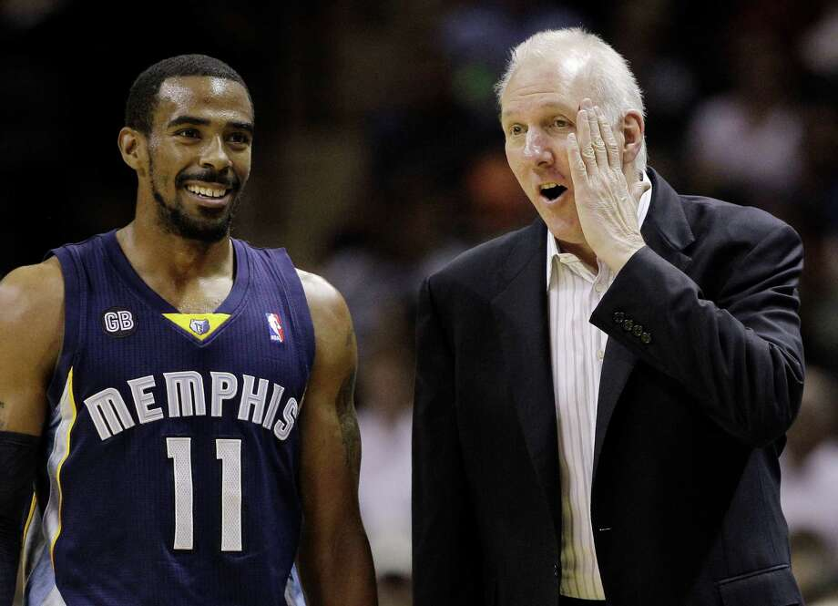 San Antonio Spurs coach Gregg Popovich, right, talks with Memphis Grizzlies' Mike Conley (11) during the first quarter of an NBA basketball game on Thursday, April 12, 2012, in San Antonio. (AP Photo/Eric Gay) Photo: Eric Gay, AP / AP