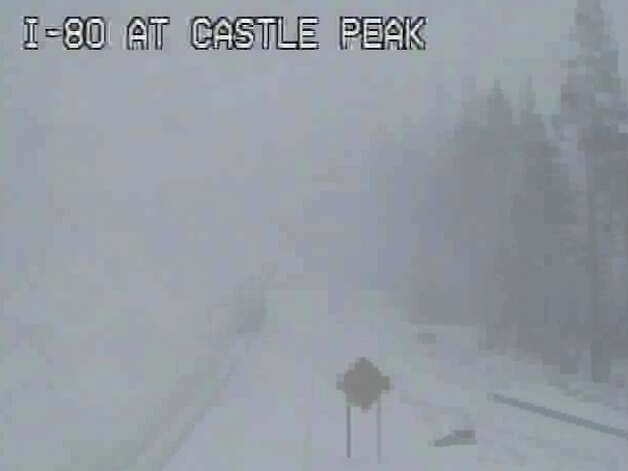 On Monday morning, this photo was captured at I-80 below Castle Peak, adjacent to the exit for Boreal -- look close and you can see the truck
