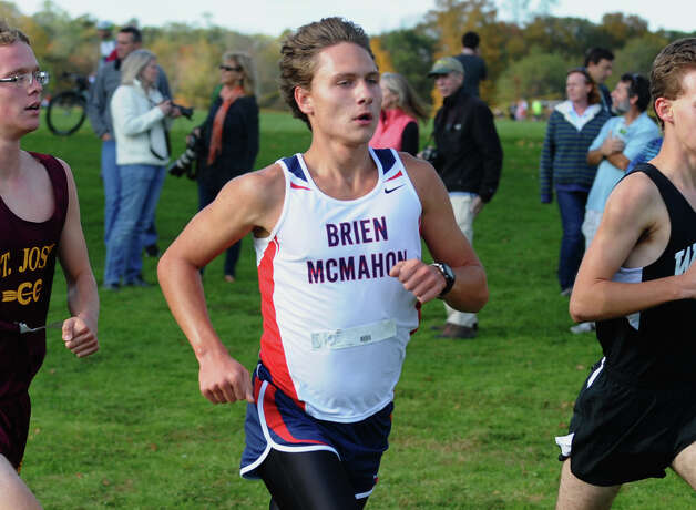 Brien McMahon's Patrick Stankiewicz takes part in boys FCIAC cross country action at Wavenly Park in New Canaan, Conn. on Thursday October 18, 2012. Photo: Christian Abraham / Connecticut Post