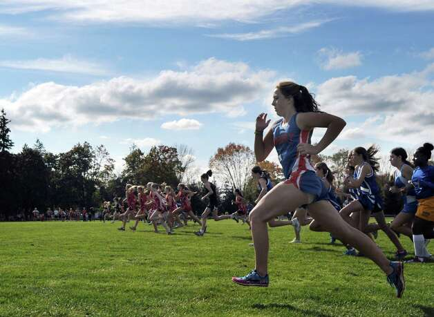 Scene from the FCIAC girls high school cross country championships at Waveny Park in New Canaan, Thursday afternoon, Oct. 18, 2012. Photo: Bob Luckey / Greenwich Time