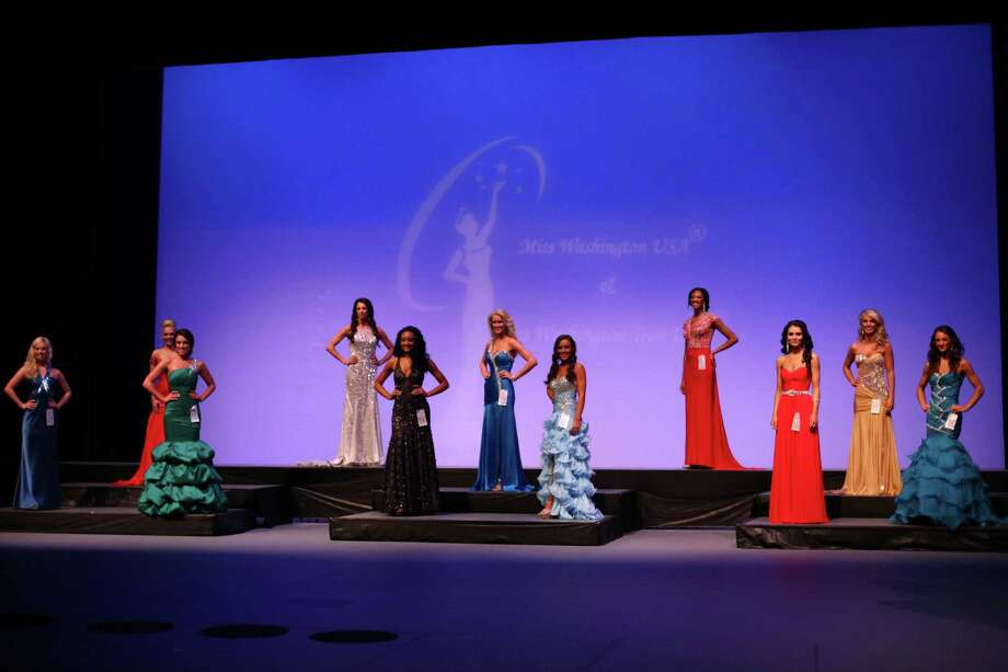 Contestants are shown onstage during the Miss Washington USA and Miss Teen Washington USA pageant on Sunday at the Highline Performing Arts Center in Burien. Miss Washington was chosen at the event to represent the Evergreen State in the 2013 Miss USA pageant. Photo: JOSHUA TRUJILLO / SEATTLEPI.COM