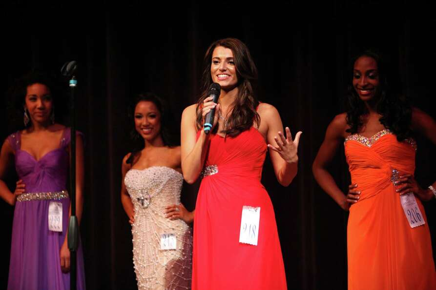 Miss Snoqualmie Valley Teen USA Emily Olthouse answers a question during the Miss Washington USA and