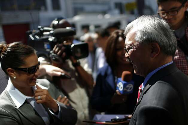 Mayor Ed Lee (right) is interviewed after speaking in support of Proposition E during a rally on Thursday, September 20, 2012 in San Francisco, Calif. Photo: Beck Diefenbach, Special To The Chronicle