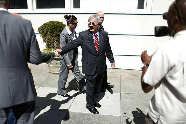 Mayor Ed Lee shakes hands after speaking in support of Proposition E during a rally on Thursday, September 20, 2012 in San Francisco, Calif. Photo: Beck Diefenbach, Special To The Chronicle