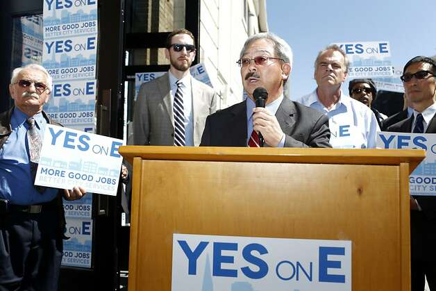 Mayor Ed Lee speaks in support of Proposition E during a rally on Thursday, September 20, 2012 in San Francisco, Calif. Photo: Beck Diefenbach, Special To The Chronicle