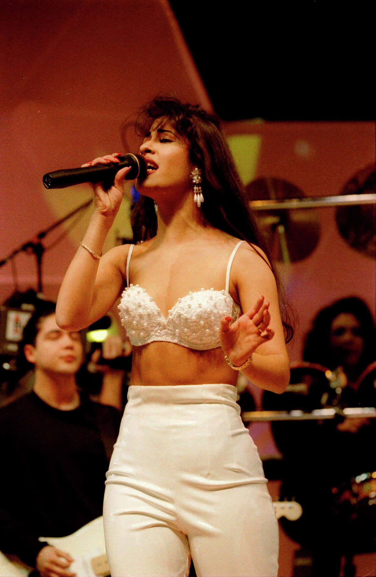 Selena performs at the Houston Livestock Show and Rodeo in 1995. Photo courtesy the Houston Chronicle.