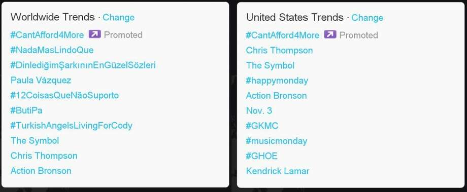 The day of the third presidential debate, #CantAfford4More was the promoted trend both worldwide and in the U.S. (Jana Kasperkevic / Houston Chronicle)