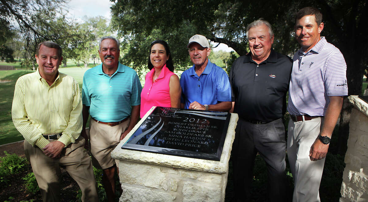 The Texas Golf Hall of Fame Class of 2012, David Price, Sam Goldfarb Jr.(representing his father Sam Goldfarb Sr), Mina Hardin, John Grace, Charlie Epps, and Justin Leonard, at Brackenridge Park Golf Course. Monday. Oct. 22, 2012.
