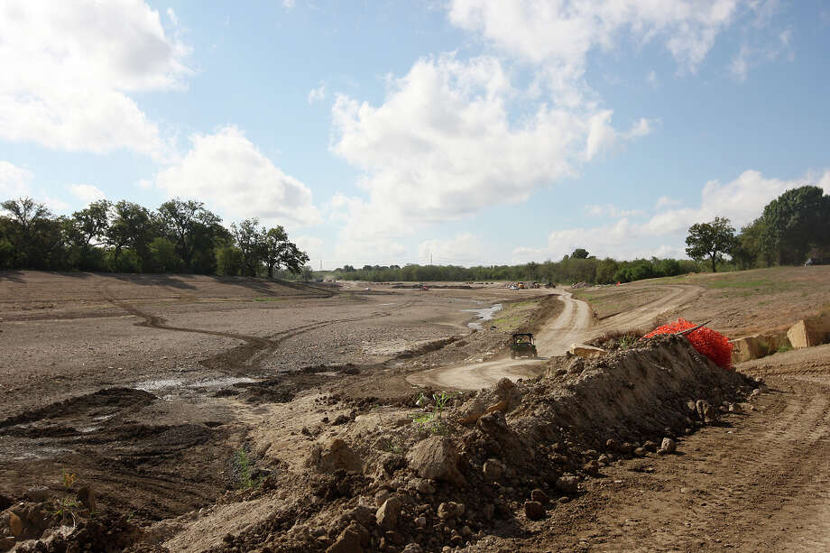 Work continues on the Mission Reach of the San Antonio River, Monday, Oct. 22, 2012. A part of the reach will open Tuesday with a larger section opening this coming Saturday. Around 3.5 million cubic yards of dirt have been moved during the project. Photo: Jerry Lara, San Antonio Express-News / © 2012 San Antonio Express-News