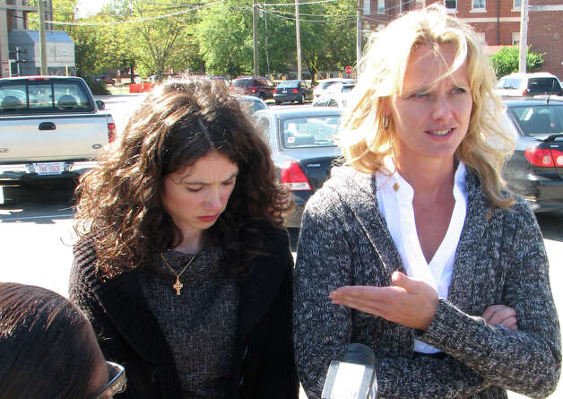 Siobhan Esposito, widow of Capt. Philip Esposito, left, and Barbara Allen, widow of 1st Lt. Louis Allen, right, speak with reporters in Fort Bragg, N.C., where Staff Sgt Alberto Martinez was tried for killing Capt. Philip Esposito of Suffern and 1st Lt. Louis Allen of Milford, Pa., at a Tikrit base, June 7, 2005. (Robert Gavin / Times Union archive)