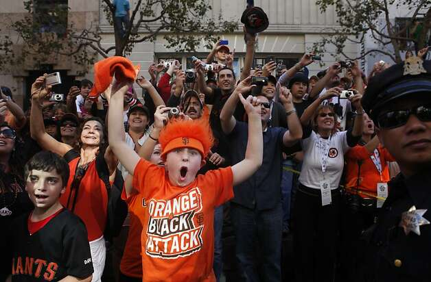 After the San Francisco Giants won the World Series, Cole McKnight, 10, goes nuts at Tim Lincecum passes by during the victory parade on Market Street on Wednesday Nov. 03, 2010 in San Francisco, Calif. Photo: Mike Kepka, The Chronicle