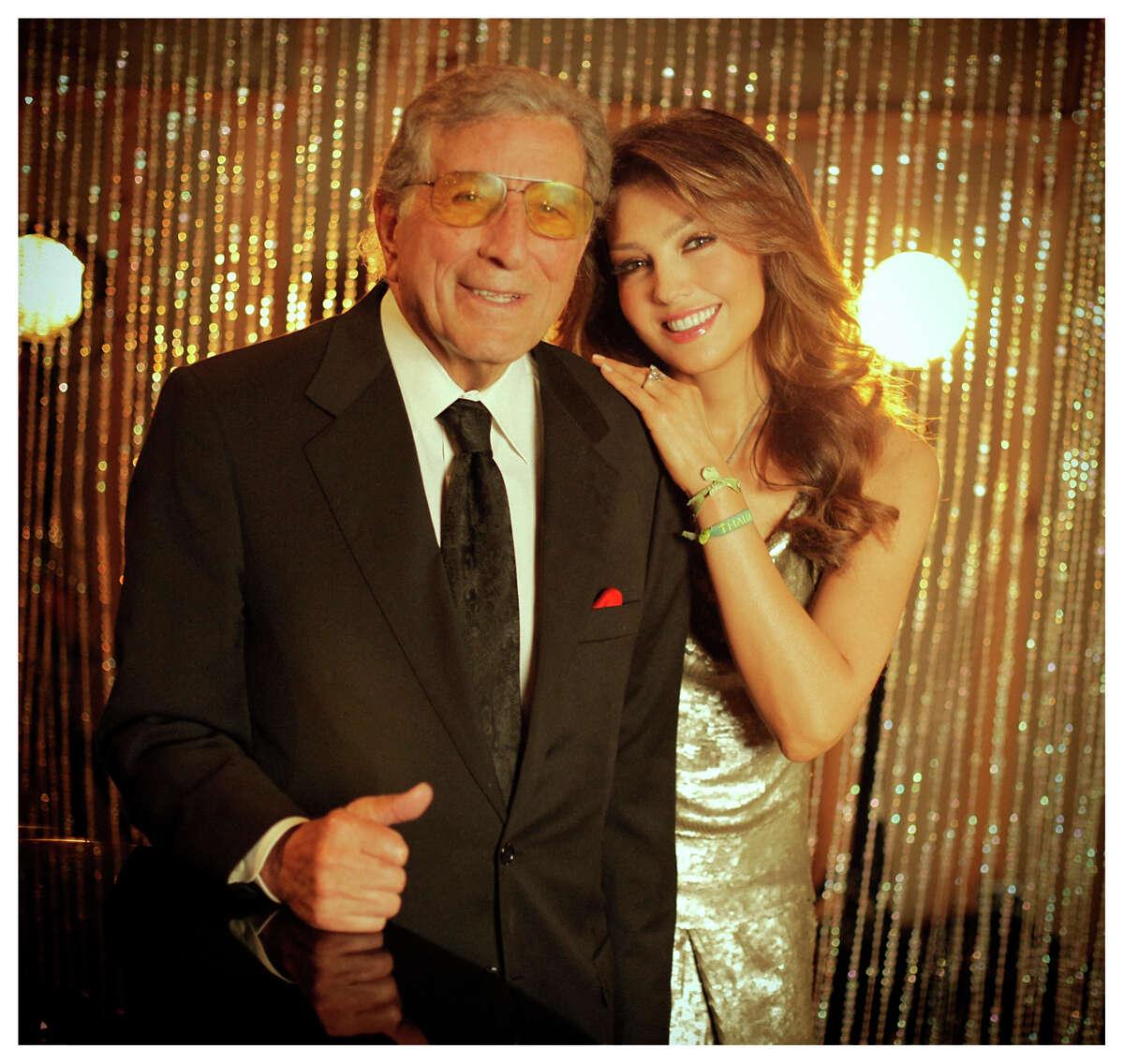 "Tony Bennett and Thalia team up on ""The Way You Look Tonight."" Photo by Ruben Martinez."