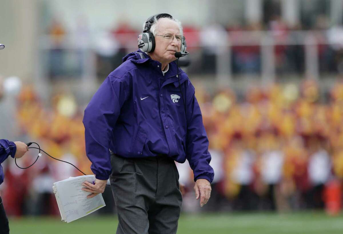 Kansas State head coach Bill Snyder looks on during the second half of an NCAA college football game against Iowa State, Saturday, Oct. 13, 2012, in Ames, Iowa. Kansas State won 27-21. (AP Photo/Charlie Neibergall)