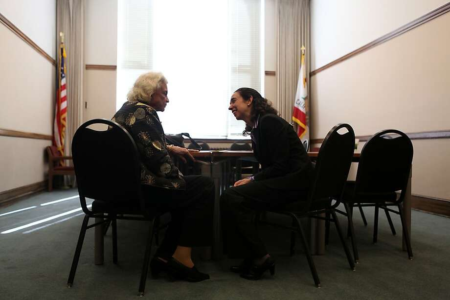 Sandra Day O'Connor chats with her former law clerk (in the 2001-2002 Term), Michelle Friedland, after describing her life and times to a Herbst Theatre audience in San Francisco. Photo: Liz Hafalia, The Chronicle