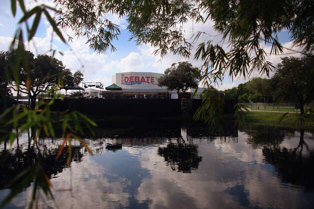 BOCA RATON, FL - OCTOBER 20:  The debate hall is seen where the final presidential debate will take place at Lynn University on October 23 between U.S. President Barack Obama and Republican presidential candidate Mitt Romney October 20, 2012 in Boca Raton, Florida. The debate will mark the final meeting between the two candidates before the general election on November 6.  (Photo by Joe Raedle/Getty Images) Photo: Joe Raedle, Getty Images / 2012 Getty Images