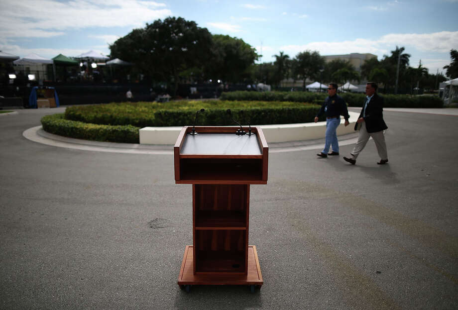 BOCA RATON, FL - OCTOBER 21: A podium stands in front of the debate hall at a day ahead of the final presidential debate at Lynn University October 21, 2012 in Boca Raton, Florida. Tomorrow U.S. President Barack Obama and Republican presidentail candidate Mitt Romney will participate in the final presidential at the university. (Photo by Mark Wilson/Getty Images) Photo: Mark Wilson, Getty Images / 2012 Getty Images