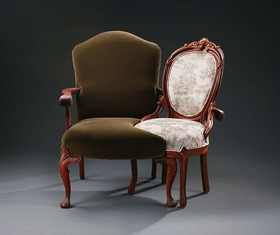 Upholsterer and furniture maker Michele Marti takes two chairs, merges them, strips it down and creates one sexy piece of Victorian furniture. Photo: Michele Marti
