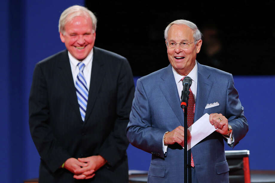 BOCA RATON, FL - OCTOBER 22:  Co-Chairmans Frank Fahrenkopf (R) and Mike McCurry of the Commission on Presidential Debates speak on stage prior to the debate between U.S. President Barack Obama and Republican presidential candidate Mitt Romney at the Keith C. and Elaine Johnson Wold Performing Arts Center at Lynn University on October 22, 2012 in Boca Raton, Florida. The focus for the final presidential debate before Election Day on November 6 is foreign policy.  (Photo by Joe Raedle/Getty Images) Photo: Joe Raedle, Getty Images / 2012 Getty Images