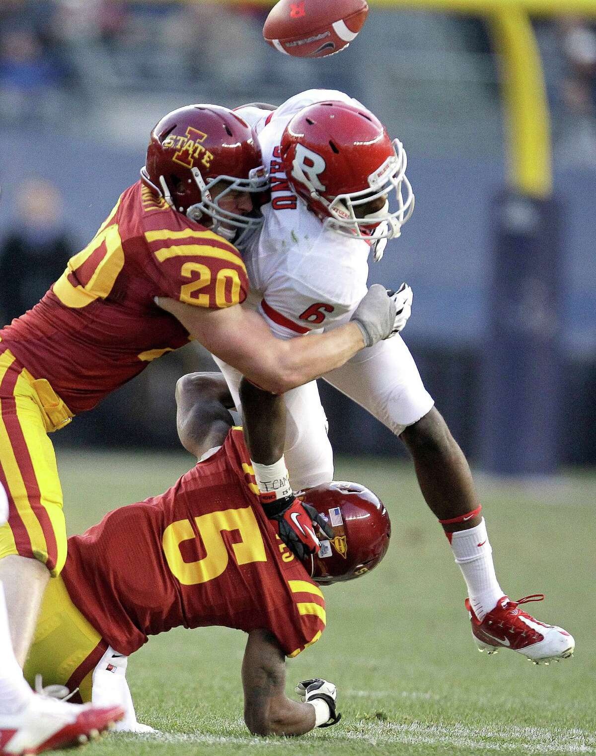 Defensive Player of the year - Jake Knott (top left), Iowa State LB: Cross-state rivals Iowa and Northern Iowa didn't think he could play college football, recruiting him for baseball. But Knott has blossomed as a senior, becoming the only Big 12 player to rank among the top 10 in tackles, tackles for losses and pass deflections. Julio Cortez/Associated Press