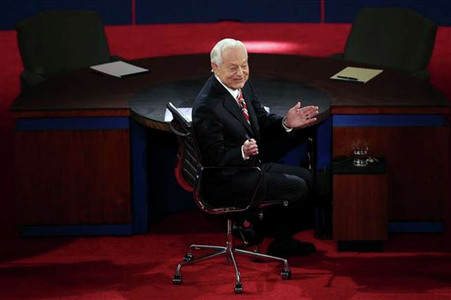 Moderator Bob Schieffer turns around to talk to the audience before the third presidential debate at Lynn University, Monday, Oct. 22, 2012, in Boca Raton, Fla. (AP Photo/Pool, Win McNamee) Photo: Win McNamee, AP / Getty Pool
