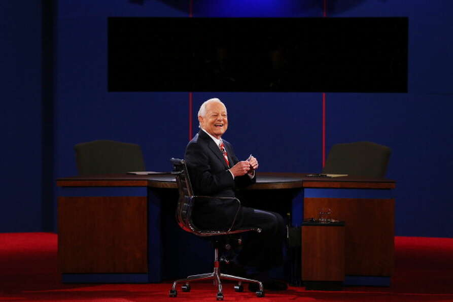 BOCA RATON, FL - OCTOBER 22:  Moderator Bob Schieffer of CBS appears on stage prior to the debate be