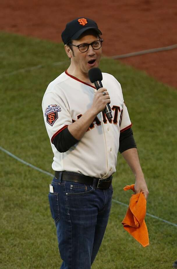 Actor Rob Schneider entertains the crowd prior to game 7 of the NLCS at AT&T Park on Monday, Oct. 22, 2012 in San Francisco, Calif. Photo: Beck Diefenbach, The Chronicle