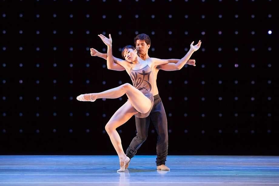 "Yujin Kim and Zachary Tang's duet put Kim's extensions on display in ""Constellation."" Photo: Margo Moritz, LINES Ballet"
