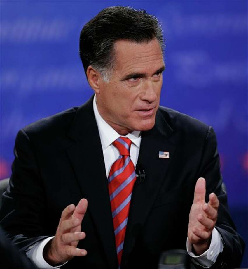 Republican presidential nominee Mitt Romney speaks during the third presidential debate with President Barack Obama at Lynn University, Monday, Oct. 22, 2012, in Boca Raton, Fla. (AP Photo/Eric Gay) Photo: Eric Gay, ASSOCIATED PRESS / AP2010