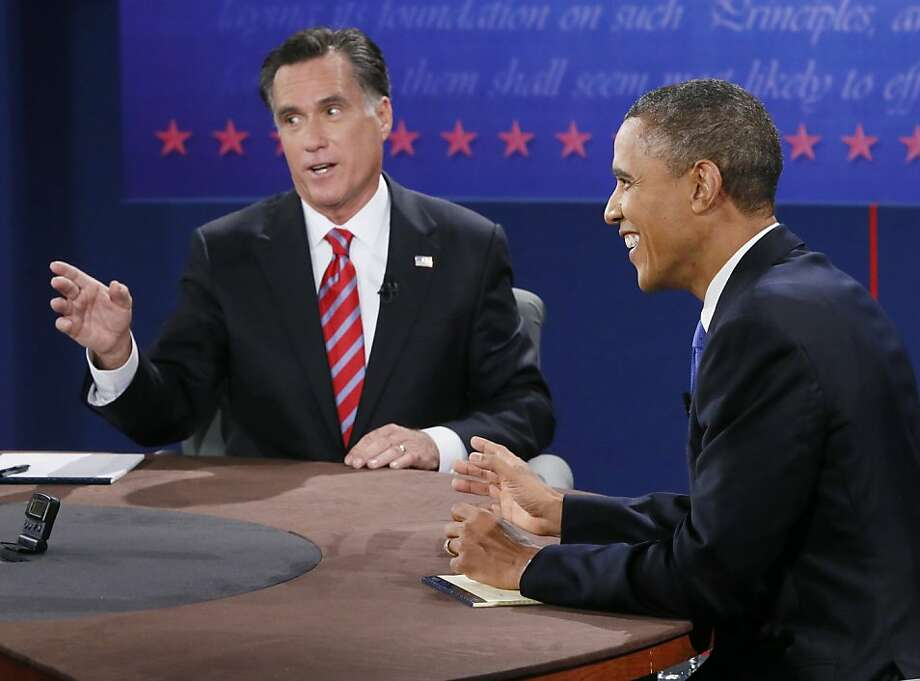 Mitt Romney and President Obama debate foreign-policy issues in Boca Raton, Fla. Photo: Rick Wilking, Associated Press