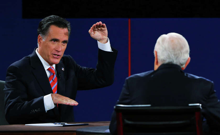 BOCA RATON, FL - OCTOBER 22:  Republican presidential candidate Mitt Romney (L) speaks during a debate with U.S. President Barack Obama as moderator Bob Schieffer of CBS (R) looks on at the Keith C. and Elaine Johnson Wold Performing Arts Center at Lynn University on October 22, 2012 in Boca Raton, Florida. The focus for the final presidential debate before Election Day on November 6 is foreign policy.  (Photo by Joe Raedle/Getty Images) Photo: Joe Raedle, Getty Images / 2012 Getty Images