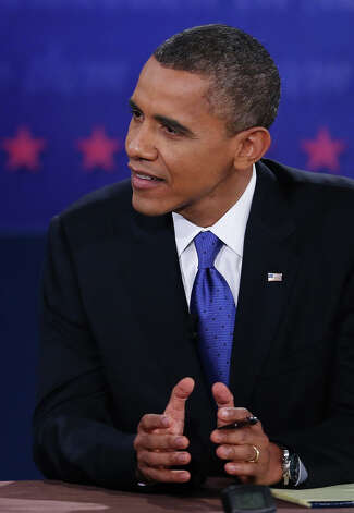 BOCA RATON, FL - OCTOBER 22:  U.S. President Barack Obama debates with Republican presidential candidate Mitt Romney (not seen) at the Keith C. and Elaine Johnson Wold Performing Arts Center at Lynn University on October 22, 2012 in Boca Raton, Florida. The focus for the final presidential debate before Election Day on November 6 is foreign policy.  (Photo by Mark Wilson/Getty Images) Photo: Mark Wilson, Getty Images / 2012 Getty Images
