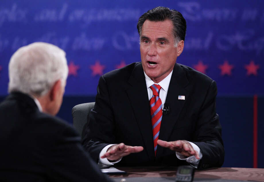 BOCA RATON, FL - OCTOBER 22:  Republican presidential candidate Mitt Romney (R) speaks during a debate with U.S. President Barack Obama as moderator Bob Schieffer of CBS (L) looks on at the Keith C. and Elaine Johnson Wold Performing Arts Center at Lynn University on October 22, 2012 in Boca Raton, Florida. The focus for the final presidential debate before Election Day on November 6 is foreign policy.  (Photo by Marc Serota/Getty Images) Photo: Marc Serota, Getty Images / 2012 Getty Images