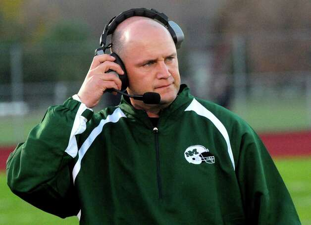 New Milford Head Coach Chuck Lynch as Oxford plays at New Milford Monday, Oct. 22, 2012. Photo: Michael Duffy / The News-Times