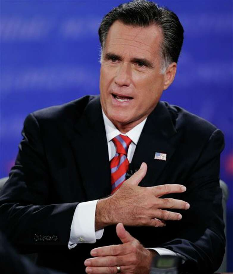 Republican presidential nominee Mitt Romney answers a question during the third presidential debate with President Barack Obama at Lynn University, Monday, Oct. 22, 2012, in Boca Raton, Fla. (AP Photo/Eric Gay) Photo: Eric Gay, ASSOCIATED PRESS / AP2010