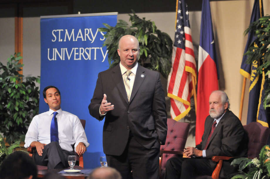 Bexar County Commissioner Kevin Wolff makes his case during a debate on the Pre-K initiative with Mayor Julián Castro (left). The event took place at St. Mary's University and was moderated by Rick Casey (right) on Oct. 22, 2012. A reader praises Wolff's kind words about the mayor but said Wolff should have treated retiring Justice of the Peace Keith Baker as gently. Photo: Robin Jerstad, For The Express-News