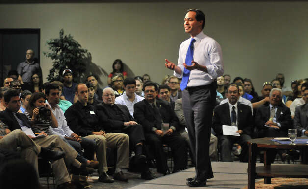 Mayor Julián Castro makes a point during a debate Monday night, Oct. 22, 2012, with County Commissioner Kevin Wolff on the Pre-K Initiative. The event took place at St. Mary's University and was moderated by Rick Casey. Photo: Robin Jerstad, For The Express-News