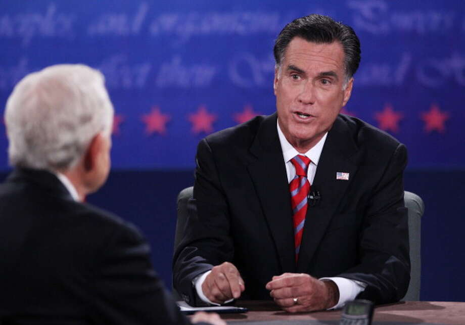 BOCA RATON, FL - OCTOBER 22:  Republican presidential candidate Mitt Romney (R) speaks during a debate with U.S. President Barack Obama as moderatorczc (L) of CBS looks on at the Keith C. and Elaine Johnson Wold Performing Arts Center at Lynn University on October 22, 2012 in Boca Raton, Florida. The focus for the final presidential debate before Election Day on November 6 is foreign policy.  (Photo by Marc Serota/Getty Images) Photo: Marc Serota, Getty Images / 2012 Getty Images