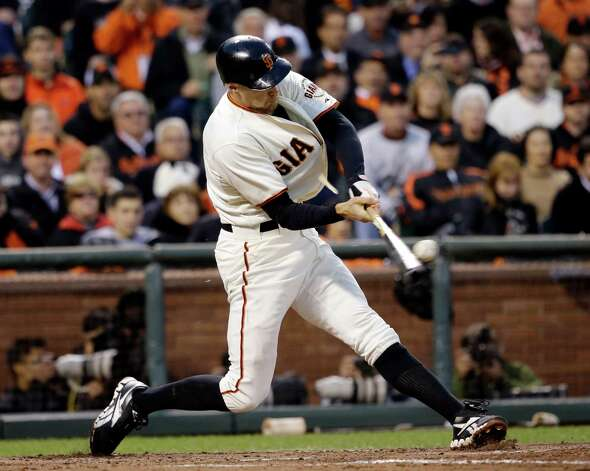 San Francisco Giants' Hunter Pence hits a three-run double during the third inning of Game 7 of baseball's National League championship series against the St. Louis Cardinals Monday, Oct. 22, 2012, in San Francisco. (AP Photo/David J. Phillip) Photo: David J. Phillip