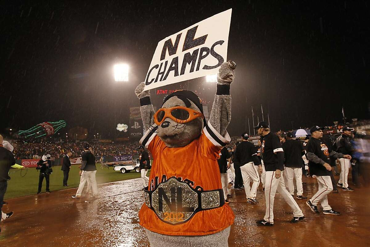 Lou Seal celebrates after game 7 of the NLCS at AT&T Park on Monday, Oct. 22, 2012 in San Francisco, Calif.