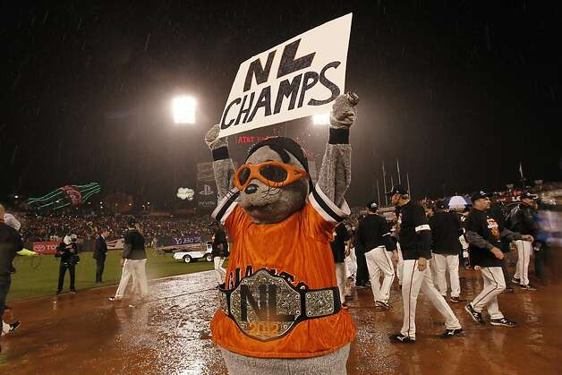 Lou Seal celebrates after game 7 of the NLCS at AT&T Park on Monday, Oct. 22, 2012 in San Francisco, Calif. Photo: Michael Macor, The Chronicle
