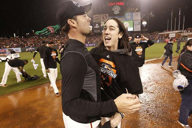 Tim Lincecum celebrates the Giants' 9-0 victory over the St. Louis Cardinals to advance to the World Series during game 7 of the NLCS at AT&T Park on Monday, Oct. 22, 2012 in San Francisco, Calif. Photo: Michael Macor, The Chronicle