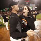 Tim Lincecum celebrates the Giants' 9-0 victory over the St. Louis Cardinals to advance to the World Series during game 7 of the NLCS at AT&T Park on Monday, Oct. 22, 2012 in San Francisco, Calif.