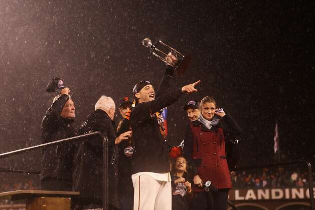 Marco Scutaro exults after accepting the NLCS MVP after the San Francisco Giants' victory in Game 7 of the NLCS  over the St. Louis Cardinals at AT&T Park Monday, October 22, 2012 in San Francisco, Calif. Photo: Pete Kiehart, The Chronicle