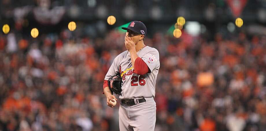 Cardinals pitcher Kyle Lohse didn't make it out of the third inning Monday, partly because his defense let him down. Photo: Lance Iversen, The Chronicle