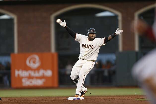 Giants' third baseman Pablo Sandoval doubles in the  during game 7 of the NLCS at AT&T Park on Monday, Oct. 22, 2012 in San Francisco, Calif. Photo: Michael Macor, The Chronicle