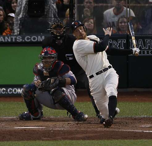 Giants' right fielder Hunter Pence doubles in the 3rd inning to score 2 during the NLCS game 7 at AT&T Park in San Francisco, Calif., on Monday, Oct. 22, 2012. Photo: Carlos Avila Gonzalez, The Chronicle