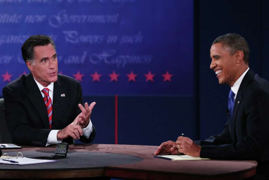 BOCA RATON, FL - OCTOBER 22:  U.S. President Barack Obama (R) debates with Republican presidential candidate Mitt Romney at the Keith C. and Elaine Johnson Wold Performing Arts Center at Lynn University on October 22, 2012 in Boca Raton, Florida. The focus for the final presidential debate before Election Day on November 6 is foreign policy.  (Photo by Marc Serota/Getty Images) Photo: Marc Serota, Getty Images / 2012 Getty Images