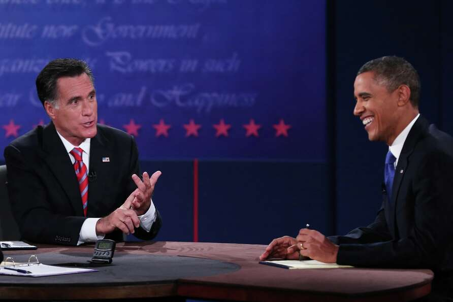 BOCA RATON, FL - OCTOBER 22:  U.S. President Barack Obama (R) debates with Republican presidential c