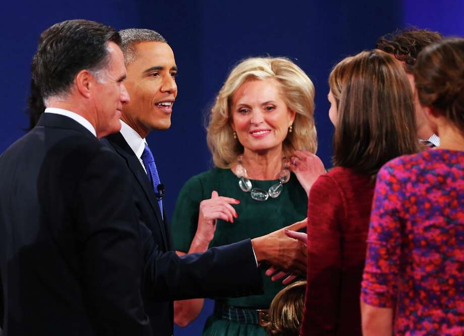 BOCA RATON, FL - OCTOBER 22:  U.S. President Barack Obama (2L) greets the family of Republican presidential candidate Mitt Romney (L) with wife, Ann Romney (3L) at the Keith C. and Elaine Johnson Wold Performing Arts Center at Lynn University on October 22, 2012 in Boca Raton, Florida. The focus for the final presidential debate before Election Day on November 6 is foreign policy.  (Photo by Joe Raedle/Getty Images) Photo: Joe Raedle, Getty Images / 2012 Getty Images