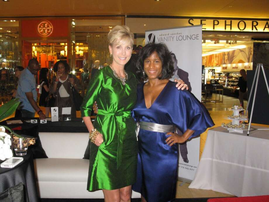 Me with Houston designer Jeri Moore in green.